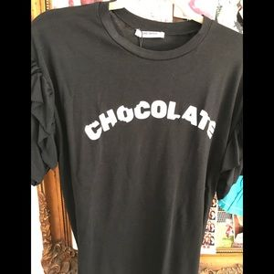 Chocolate Tee shirt w/ruffled sleeves